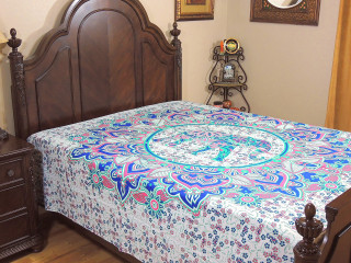 Unique Elephant Tapestry Bed Sheet - Bohemian Ethnic Cotton Bedding Linens ~ Full