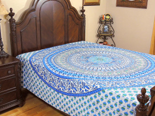Peacock Elephant Beautiful Cotton Bedding - Blue Printed Bed Sheet Linens ~ Full