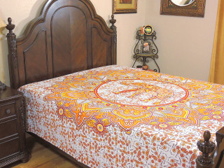 Ethnic Cotton Luxury Elephant Bedding - Yellow Printed Bed Sheet Linens ~ Full