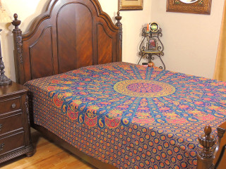Blue Folk Dance Luxury Bedding - Cotton Ethnic Indian Printed Bed Sheet Linens ~ Full