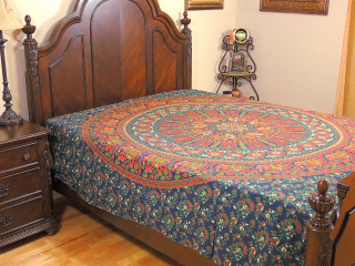 Blue Mandala Elephant Unique Bedding - Traditional Indian Jaipur Bed Sheet Linens ~ Full
