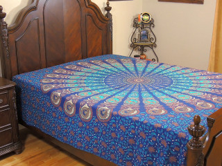 Blue Peacock Tail Fan Bedding - Traditional Rajasthani Cottom Bed Sheet Linens ~ Full