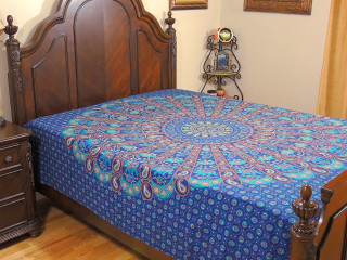 Blue Folk Dance Elephant Bedding - Cotton Rajasthani Printed Bed Sheet Linens ~ Full