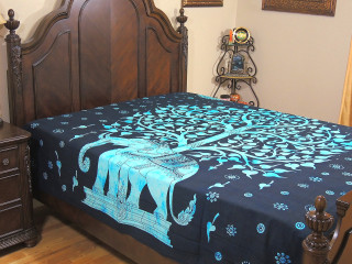 Blue Elephant Indian Bed Sheet - Tree of Life Cotton Tapestry Bedding ~ Full
