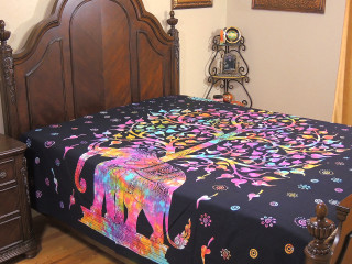 Multicolor Elephant Indian Bed Sheet - Tree of Life Cotton Tapestry Bedding ~ Full