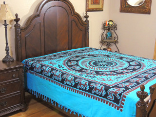 Blue Mandala Elephant Cotton Bedding - Woven Indian Bed Linens ~ Full