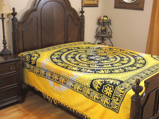 Yellow Mandala Elephant Cotton Bedding - Woven Indian Bed Linens ~ Full
