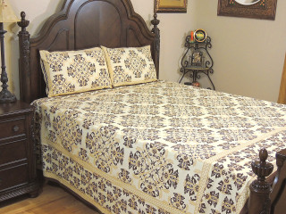 Cream Brown Floral Cotton Bedspread – Ethnic Luxury Bed Sheet Pillowcases ~ Queen