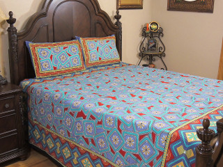 Blue Red Floral Cotton Duvet Cover – Ethnic Luxury Bedding Pillowcases ~ Queen