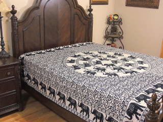 Mandala Elephant Reversible Duvet Cover Bedding - Beige Cotton Luxury Comforter ~ Double