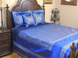 Blue Mandala Duvet Bedding Set - Indian Style Brocade Ensemble ~ Queen