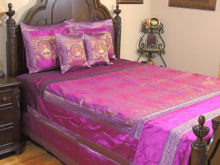 Purple Dancing Peacock Duvet Bedding Set - Indian Style Brocade Ensemble ~ Queen
