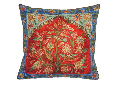 """Tree of Life Embroidered Cushion Cover - Kashmir Crewel Work Throw Pillow ~ 16"""""""