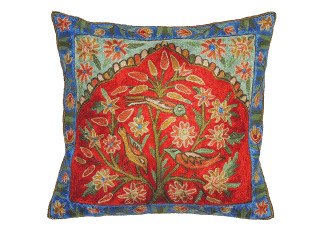 Tree of Life Embroidered Cushion Cover - Kashmir Crewel Work Throw Pillow ~ 16""