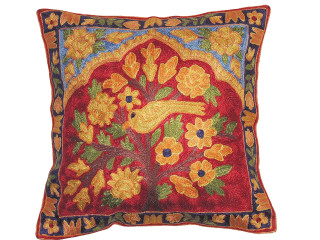 """Maroon Tree of Life Cushion Cover - Kashmir Crewel Embroidery Accent Pillow ~ 16"""""""
