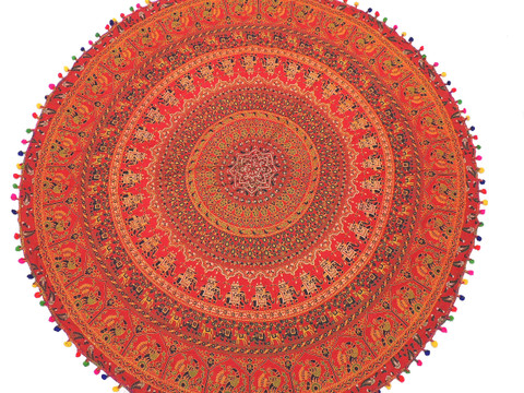 Red Elephant Peacock Round Tablecloth - Cotton Mandala Print Fringed Table Overlay 70""