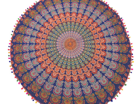 Blue Peacock Tail Fan Tablecloth - Cotton Mandala Print Round Fringed Table Overlay 70""