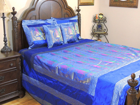 Blue Bohemian Dancing Peacock Duvet Bedding Set - Indian Brocade Ensemble ~ Queen