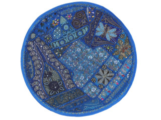 Blue Beaded Round Decorative Pillow Cover - Sari Floor Seating Cushion 26""