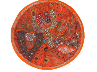 Orange Beaded Round Decorative Pillow Cover - Sari Floor Seating Cushion 26""