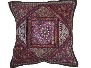 Maroon Brown Decorative Throw Pillow - Fancy Beaded Accent Cushion Cover 16""