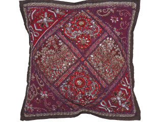 Maroon Brown Handmade Throw Pillow Cover - Fancy Accent Cushion 16""