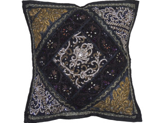 Black Beautiful Handmade Throw Pillow Cover - Fancy Accent Cushion 16""