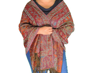 Maroon Paisley Wool Shawl Wrap - Warm Jamawar Ladies Dress Scarf 78""