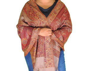 Maroon Kani Paisley Wool Shawl Wrap - Warm Kashmir Ladies Dress Scarf 78""