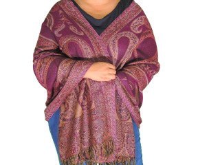 Tyrian Purple Ladies Wool Shawl Wrap - Jamawar Evening Dress Scarf 78""