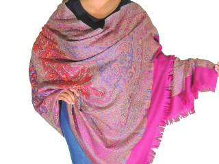 Magenta Blue Embroidered Shoulder Shawl - Kashmir Floral Wool Scarf Afghan 80""
