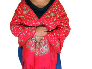 Scarlet Red Zari Embroidered Wrap - Fashion Warm Shoulder Shawl 78""
