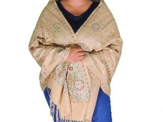 Beige Blonde Zari Embroidered Wrap - Fashion Warm Shoulder Shawl 78""