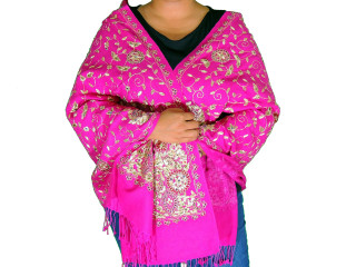 Magenta Zari Embroidered Luxury Wrap - Fashion Warm Shoulder Shawl 78""