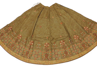 "Olive Embroidered Bollywood Fashion Skirt ~ Full Length Clothing Dress 34"" Waist"