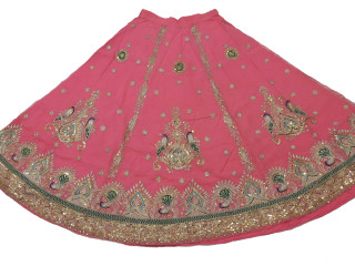 "Pink Peacock Bollywood Fashion Skirt ~ Embroidered Full Length Clothing Dress 33"" Waist"