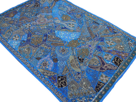 Blue Huge Indian Wall Hanging - Handmade Beaded Decorative Textile Tapestry 90""