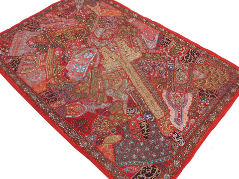 """Red Huge Indian Wall Hanging - Handmade Beaded Decorative Textile Tapestry 90"""""""