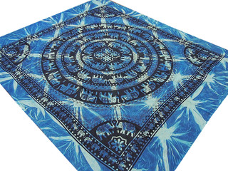 Blue Mandala Indian Sheet Elephant Patterned Full Size Bedding Cotton Tapestry