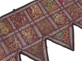 Brown Beaded Door Topper Valance - Window Covering Toran from India 80""
