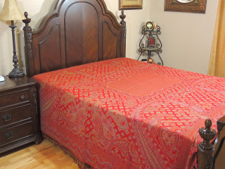 Crimson Cashmere Rang Mahal Bedding - Paisley Kani Reversible Wool Blanket ~ Queen