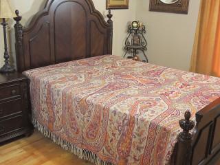 Ivory Falak Kani Cashmere Bedding - Paisley Reversible Jamawar Wool Blanket ~ Queen