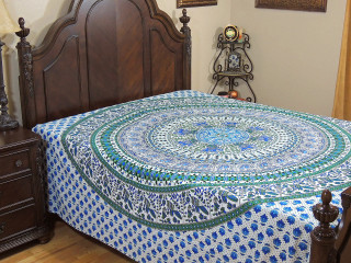 Blue Elephant Peacock Bed Sheet - Mandala Indian Cotton Tapestry Bedding ~ Full