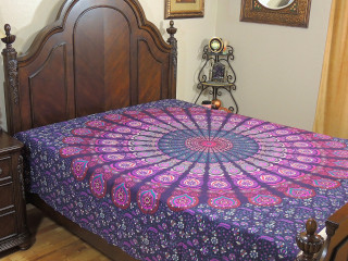 Purple Peacock Tail Fan Bed Sheet - Indian Cotton Tapestry Bedding ~ Full