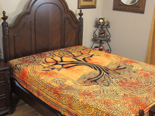 Yellow Orange Bed Sheet - Indian Tree of Life Cotton Tapestry Bedding ~ Full