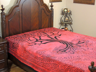 Vermilion Red Bed Sheet - Indian Tree of Life Cotton Tapestry Bedding ~ Full