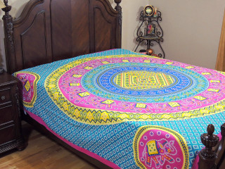 Hot Pink Yellow Mandala Bed Sheet - Elephant Dot Print Cotton Tapestry Bedding ~ Full