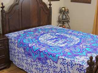 Purple Turquoise Elephant Bed Sheet - Floral Petals Indian Cotton Tapestry Bedding ~ Full