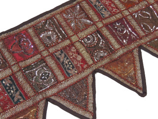 Brown Beaded Living Room Valance - Window and Door Topper Toran 80
