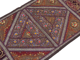 "Brown Kundan Decorative Sari Tapestry - Beaded Embroidered Wall Hanging 60"" x 20"""